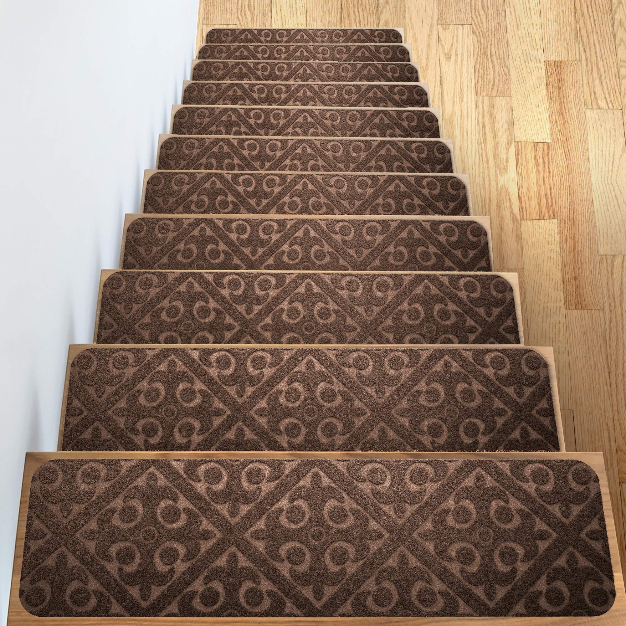 Elogio Carpet Stair Treads Set of 13 Non Slip/Skid Rubber Runner Mats or Rug Tread - Indoor Outdoor Pet Dog Stair Treads Pads - Non-Slip Stairway Carpet Rugs (Brown) 8'' x 30'' Includes Adhesive Tape