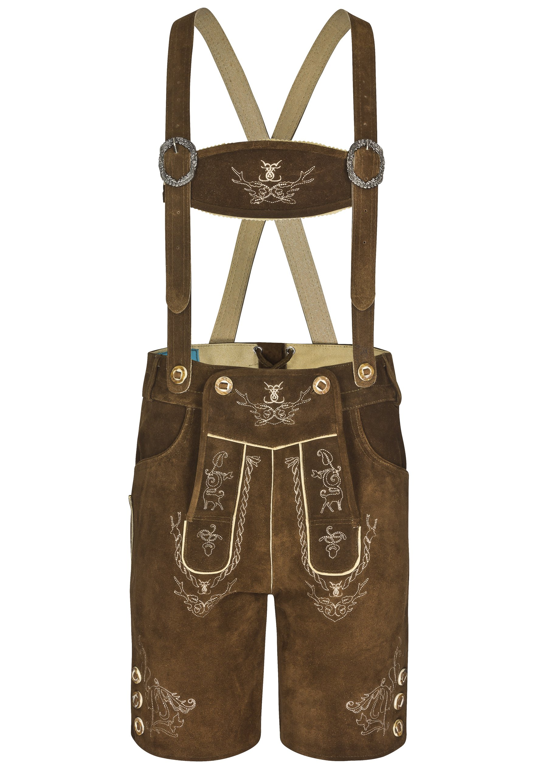 Men Alpenjäger Original Lederhosen Oktoberfest German Pants (42'', Medium Brown)