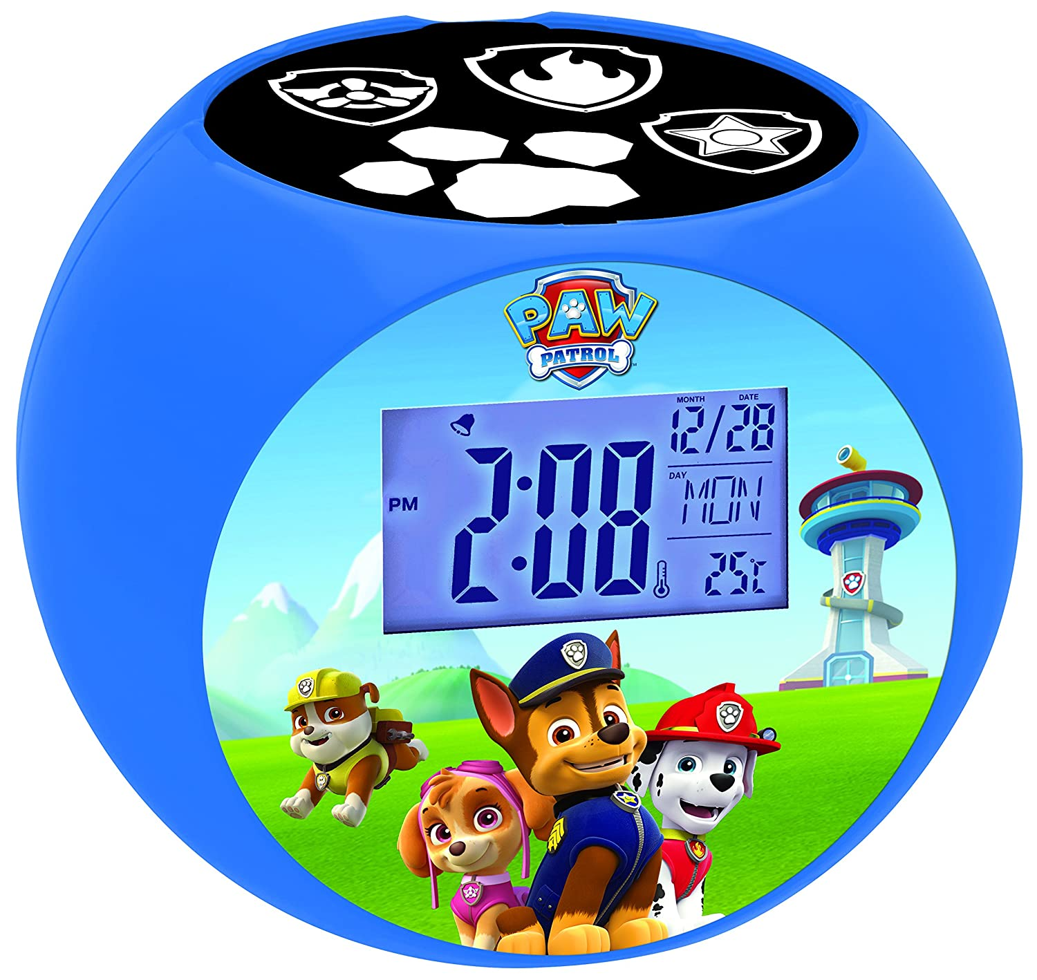 LEXIBOOK Paw Patrol Chase Radio projector clock, sound effects, battery-powered, Blue/Black, RL975PA