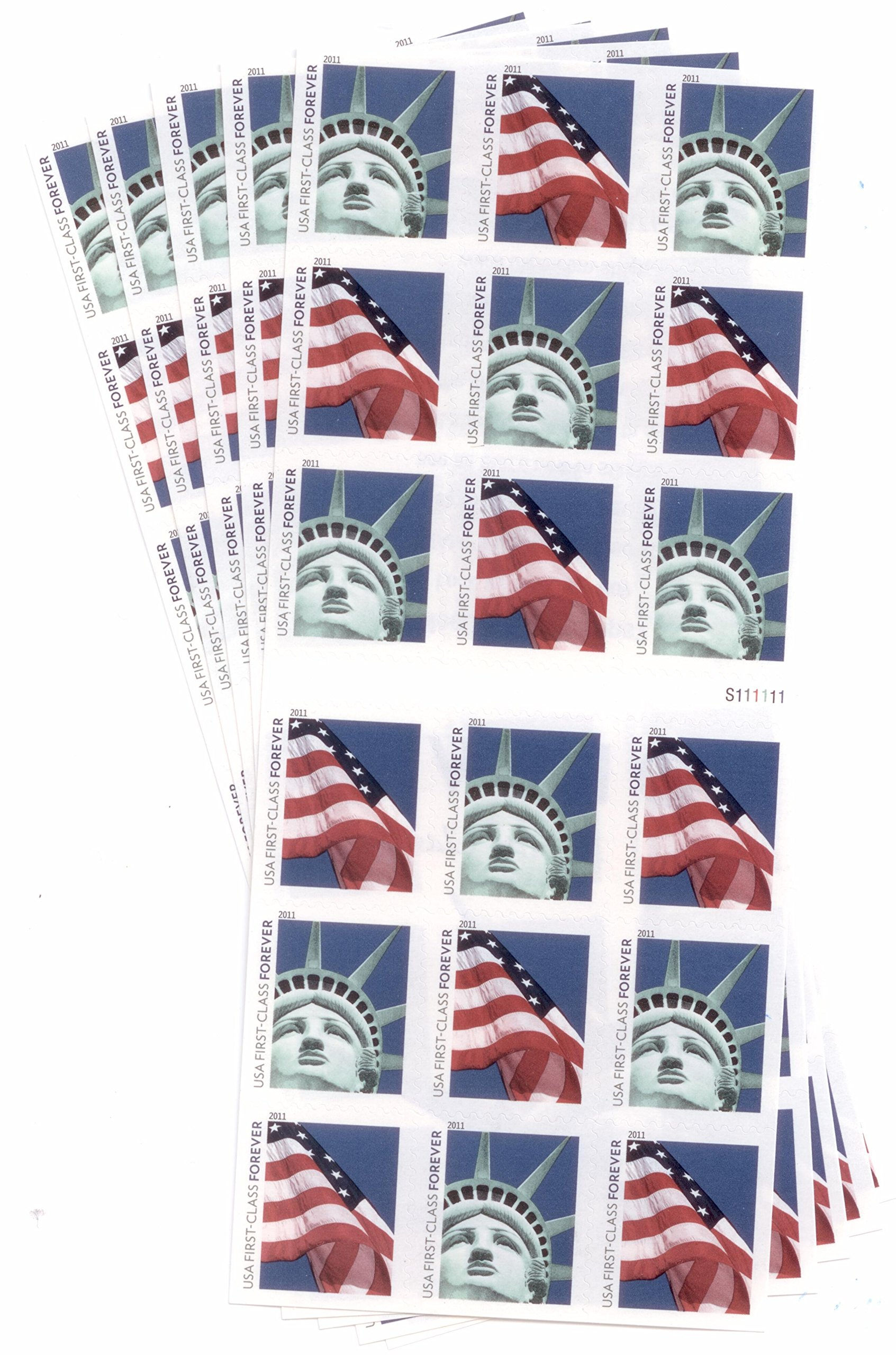 USPS Forever Stamps Lady Liberty and Flag - 90 stamps (5 sheets of 18)