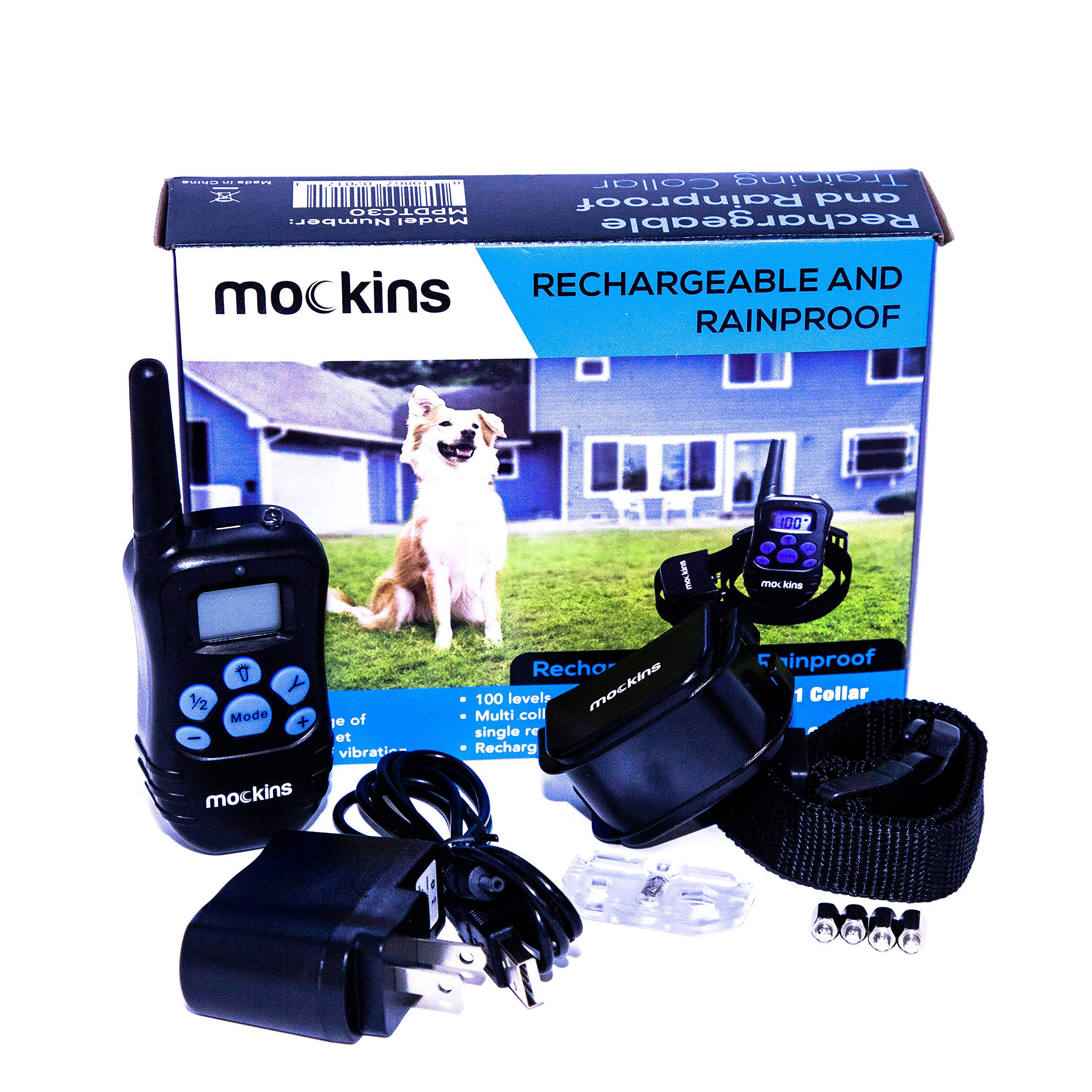 Mockins 100% Rainproof Rechargeable Electronic Remote Dog Training Shock Collar Beep Vibration - E-Collar 330 Yards (990 ft) Distance … … … … … …