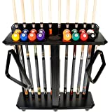 Cue Rack Only - 10 Pool - Billiard Stick & Ball Set Floor - Stand Choose Mahogany, Black Or Oak Finish