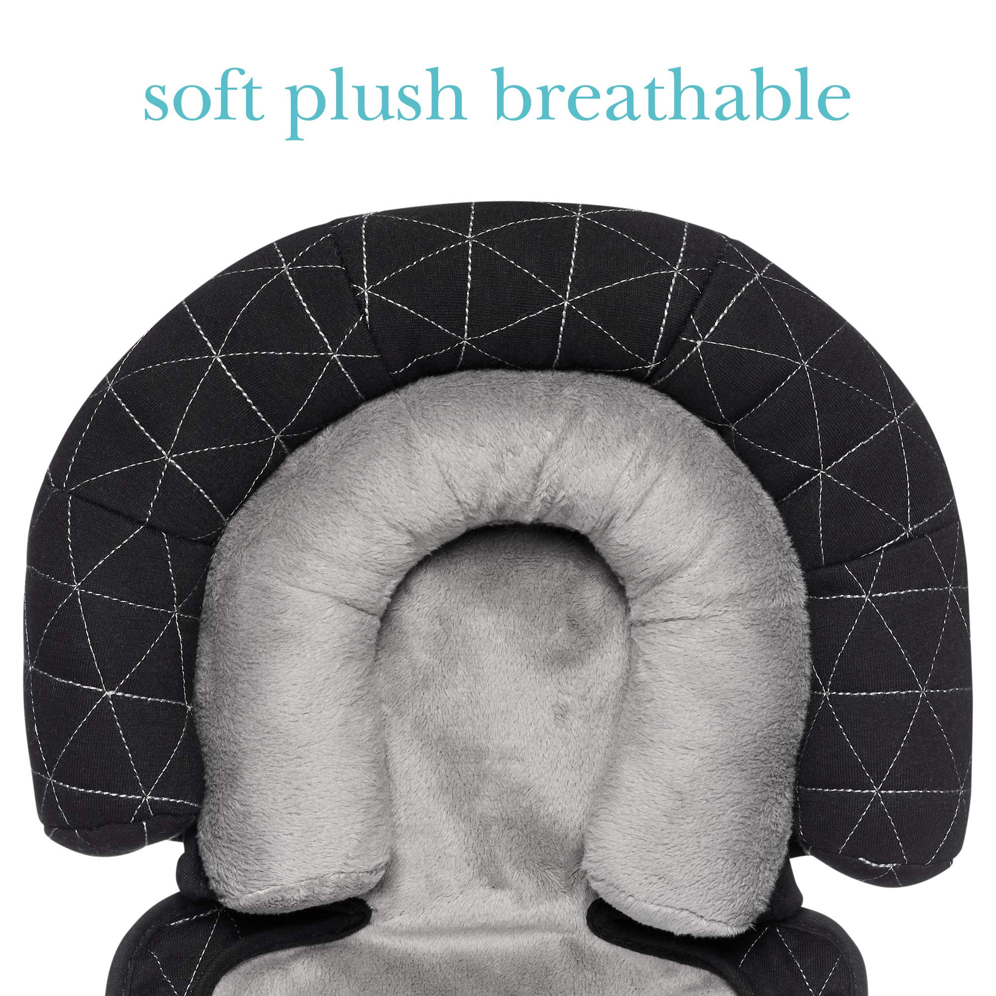 JJ Cole - Head Support, Newborn Head and Neck Support for Car Seat and Stroller, Designed to Adjust with Age, Black Tri Stitch, Birth and Up by JJ Cole (Image #6)