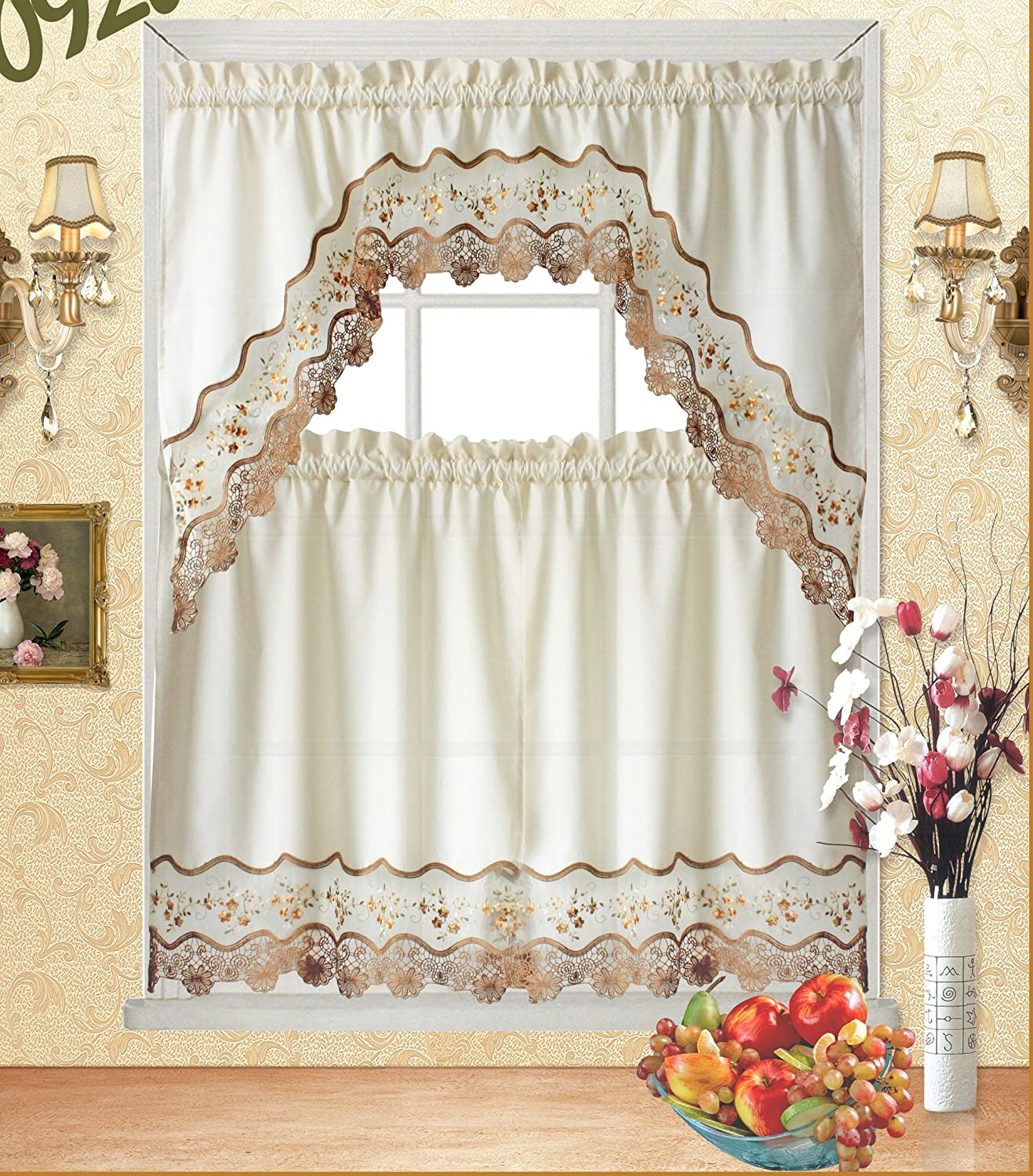 """Fancy Collection 3pc Beige with Embroidery Floral Kitchen/Cafe Curtain Tier and Valance Set 001092 (60"""" x 38"""", Gold/Beige/Beige)"""