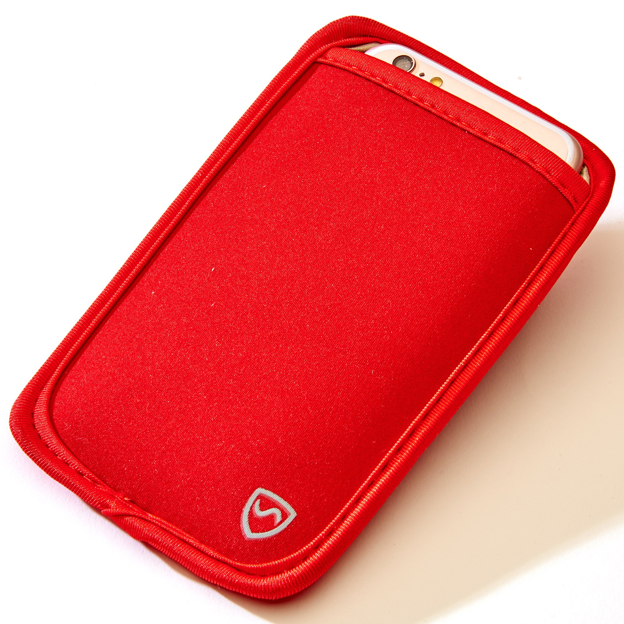 SYB Phone Pouch, Cell Phone EMF Protection Holster Sleeve for Phones up to 3.25'' Wide with Belt Hoop (Red, Extra Large)