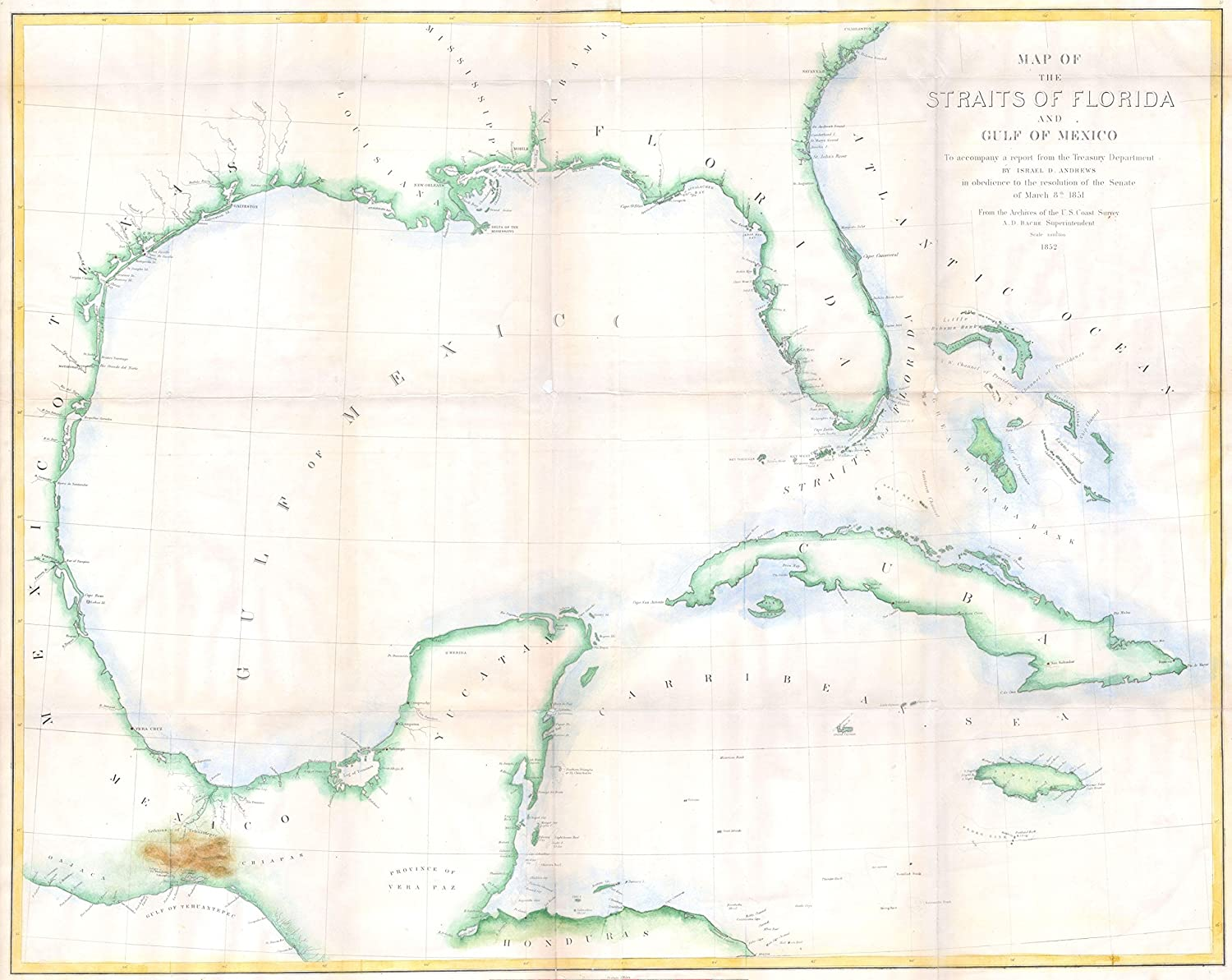 Mexico Florida Map.Amazon Com Andrews Map Of Florida Cuba And The Gulf Of Mexico Map