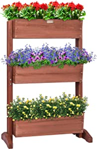 VIVOSUN 3 Tier Raised Garden Bed Flower Rack Vertical Wooden Plant Rack Classification Storage Box