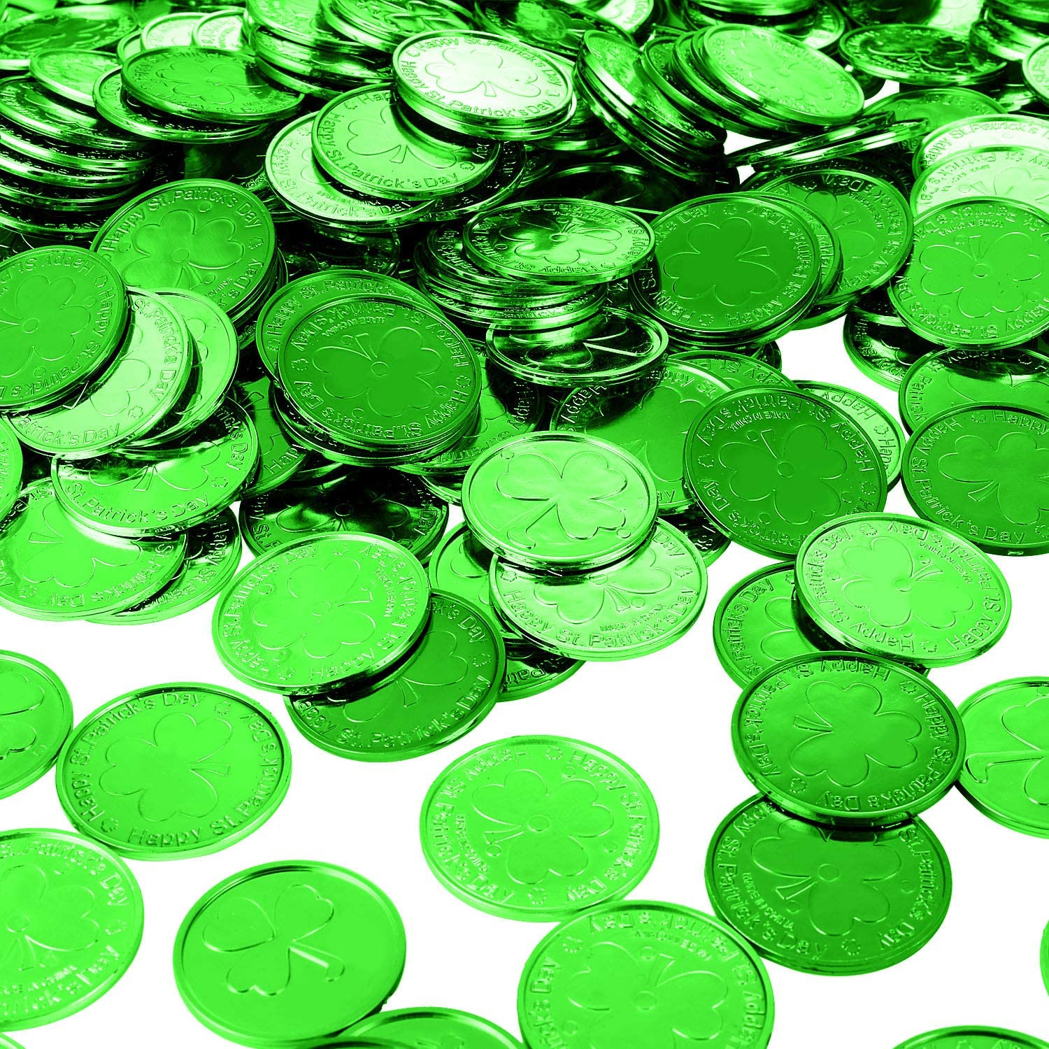 Patricks Day Shamrock Coins Plastic Lucky Clover Coins Shamrock Luck Coins Table Sprinkles for Party Supplies 240 Pieces St Green