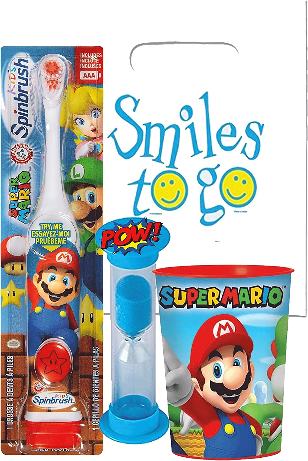 Super Mario Brothers 3pc Bright Smile Oral Hygiene Bundle! Turbo Spin Toothbrush, Brushing Timer & Mouthwash Rinse Cup! Plus Dental Gift Bag & Tooth