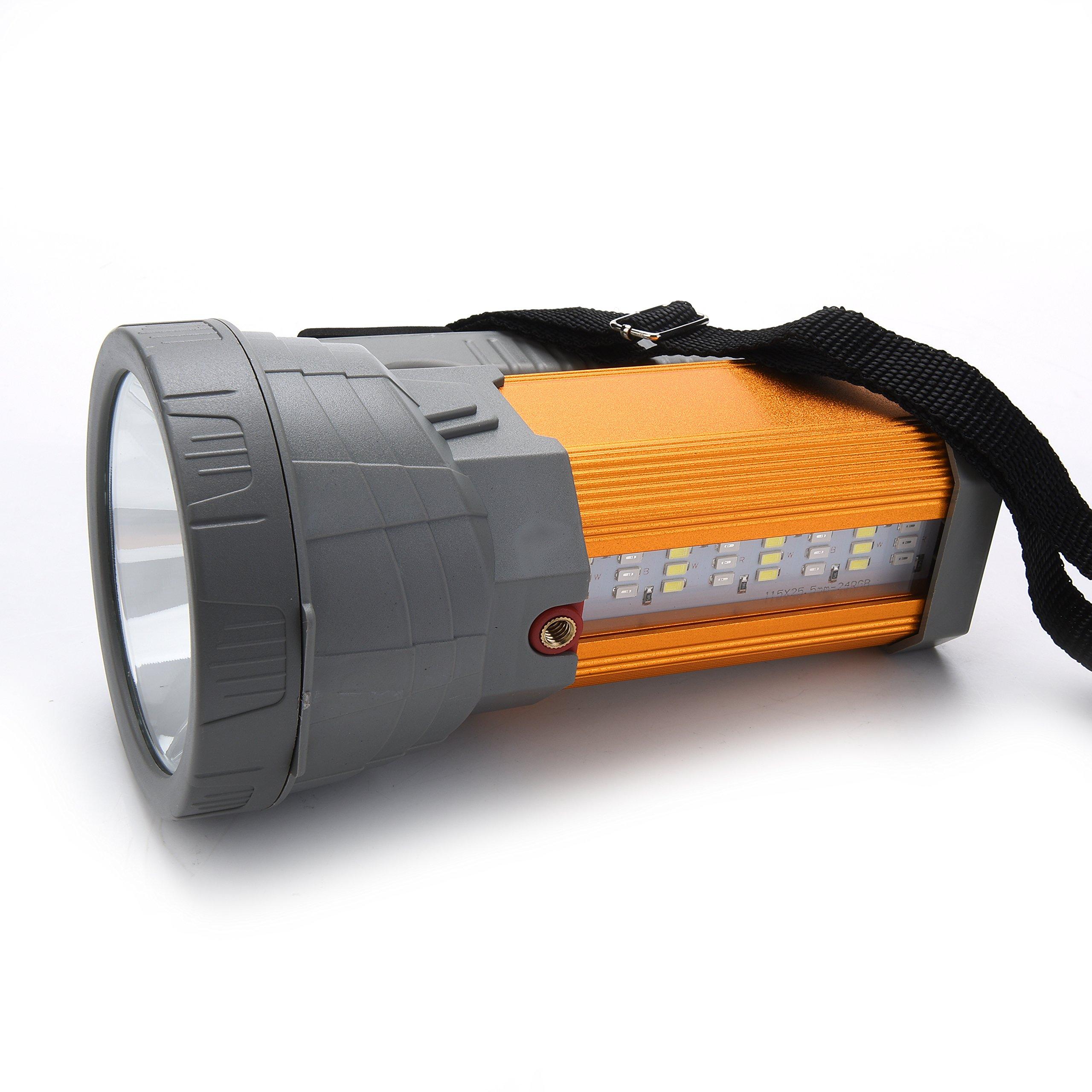 Super Bright Rechargeable LED Spotlight Flashlight High Powered 6000 Lumens CREE Handheld Searchlight Large 18650 Battery 10000mah Long Lasting Waterproof, Side Flood Light Camping Lantern Work Light by GEPROSMA (Image #5)