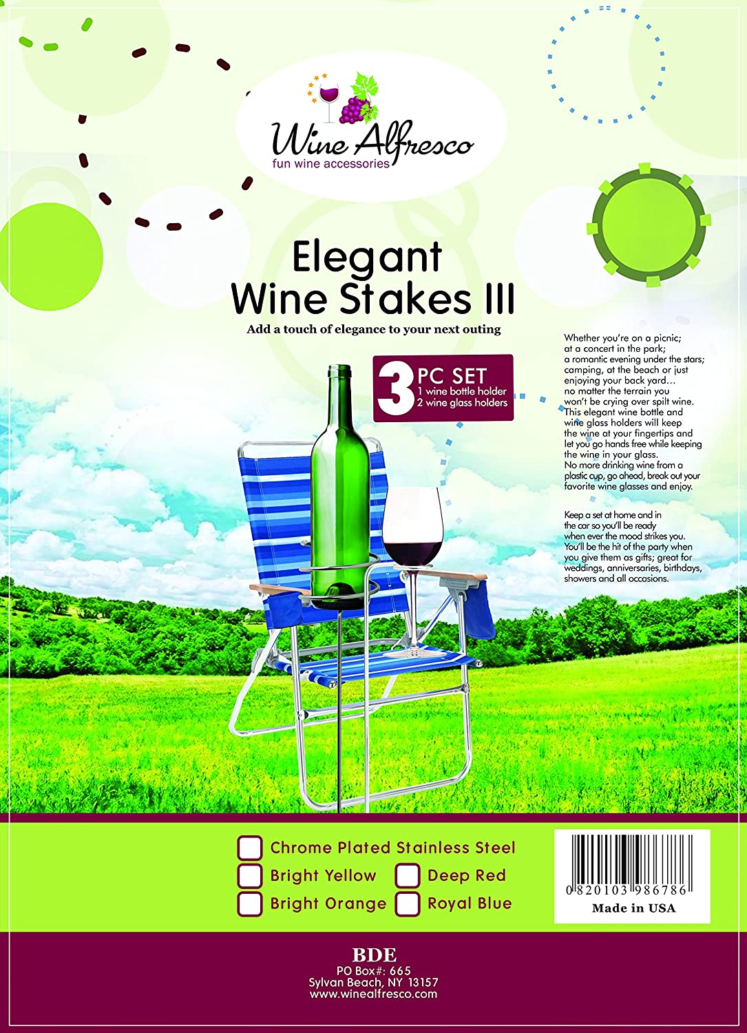 Amazon Outdoor Wine Glass Holders Yard Stakes Lawn Chair Height Chrome Plated Baked Enamel Stainless Steel Bright Yellow Garden & Outdoor