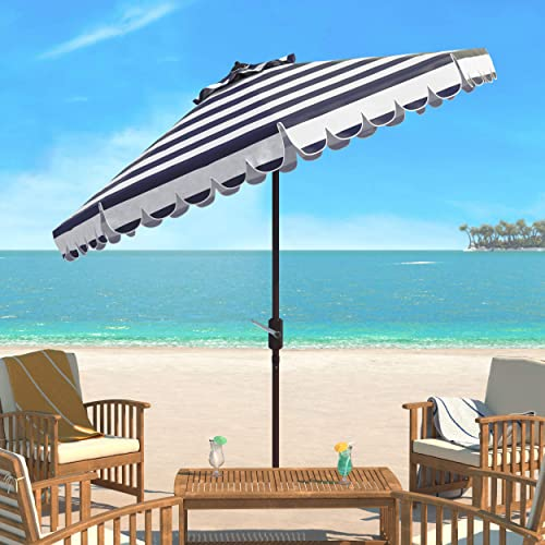Safavieh PAT8011C Outdoor Collection Maui Navy and White Single Scallop Striped 9Ft Crank Push Button Tilt Umbrella