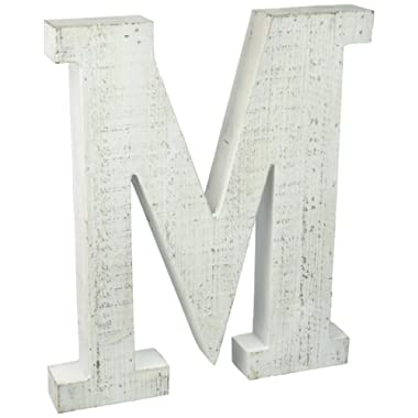 Adeco Wooden Hanging Wall Letters  M  - White Decorative Wall Letter of Living Room, Baby Name and Bedroom Decor, Whitewash