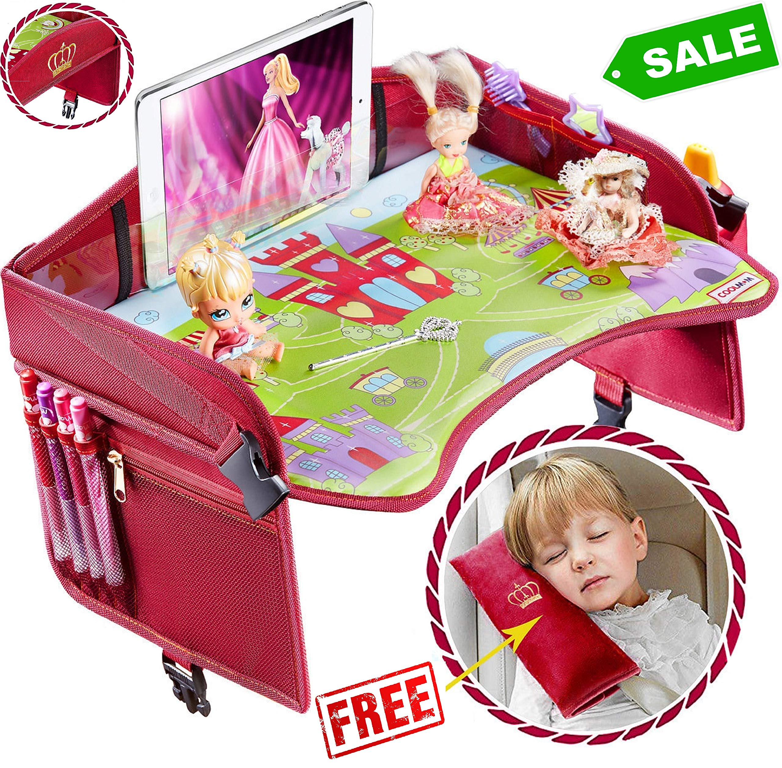Travel Tray - Ideal as Kids Travel Tray - Toddler Travel Tray & Baby Stroller Tray - Travel Activity Tray & Play Tray - Baby Snack Tray & Kid's Car Seat Tray - Play Table (Premium Red/Pink) by Coolmum