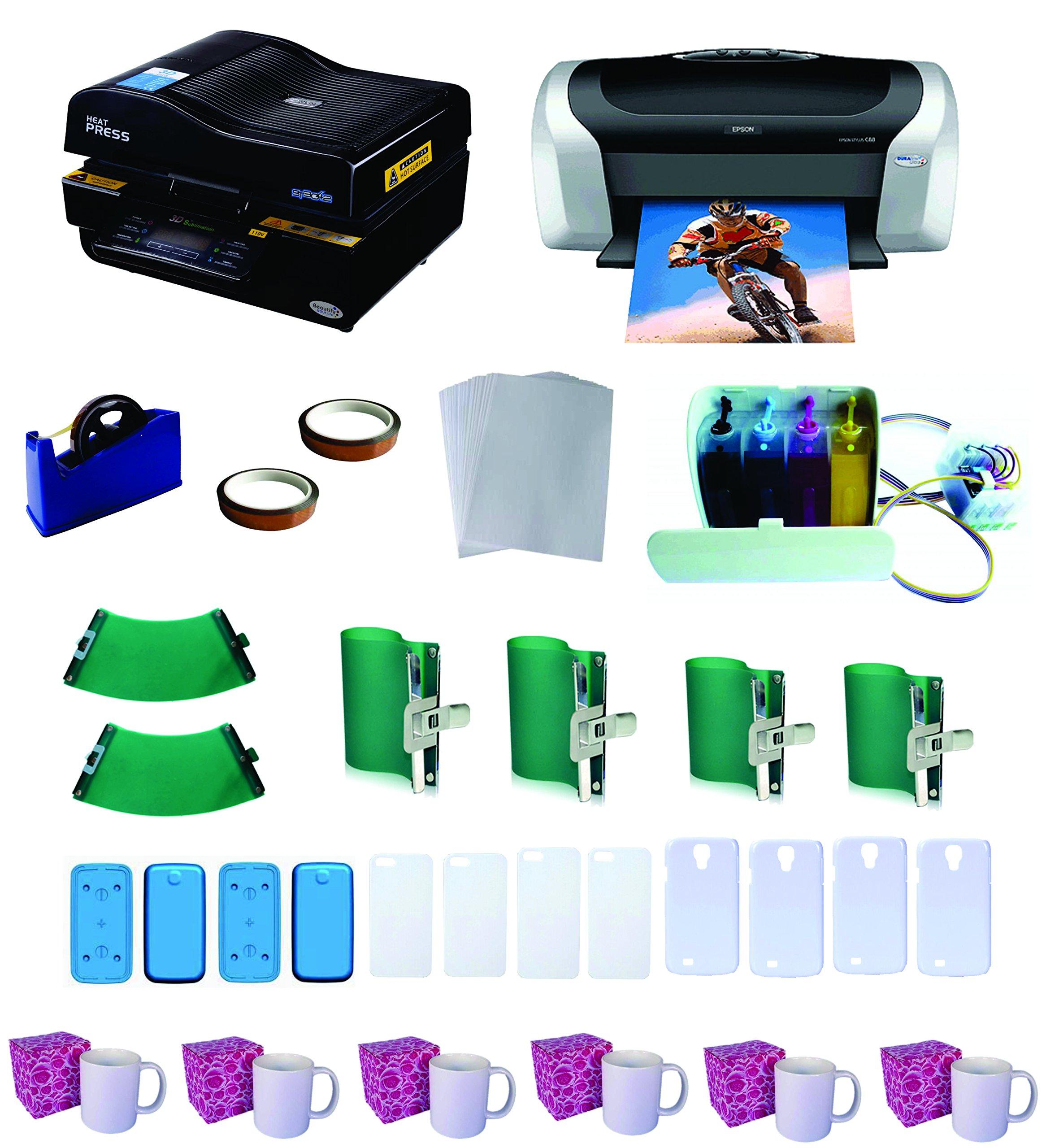 3D Pro Sublimation Heat Press Machine Epson Printer C88 CISS KIT