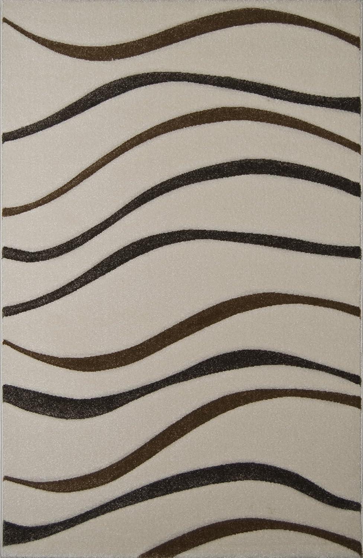 Teppich Modern Design Musterteppich Webteppich Kurzflor - Wohnzimmer, Esszimmer, Gästezimmer – Wellen-Design Creme/Braun – 3-D Effekt – komplett umkettelt, 5mm Flor, pflegeleicht – 160x230cm