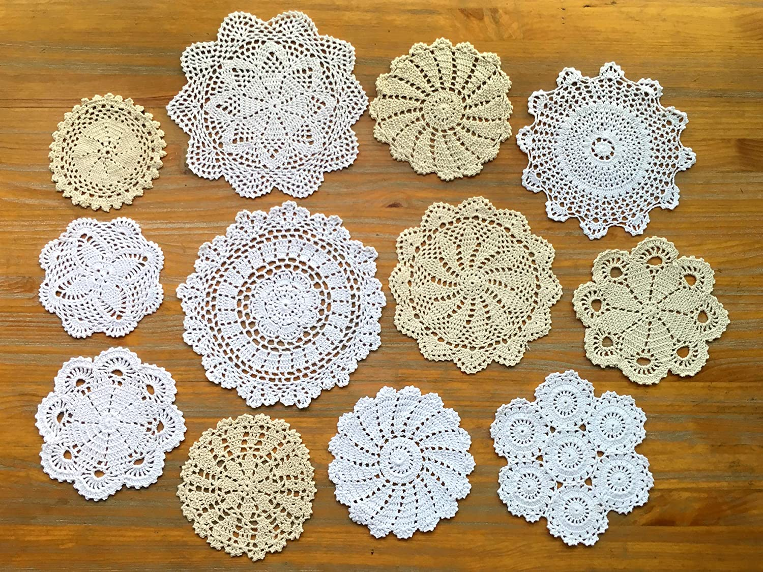 DOUKING 12Pcs Hand Crochet Lace Doilies for Table Decoration Handmade Vintage Round Lace Doilies Placemats, Varied Sizes, 5-12 Inches, Beige and White (12 PCS)
