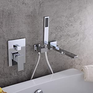 KunMai Waterfall Wall Mounted Bathtub Faucet with Hand Shower Swivel Tub Filler Faucet Single Handle Solid Brass (Chrome)