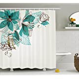 Turquoise Decor Shower Curtain Floral Decor by Ambesonne, Vintage Style Flowers Buds with Leaf Retro Art Season Celebration Print,Fabric Bathroom Decor Set with Hooks, 75 Inches Long, Teal Brown