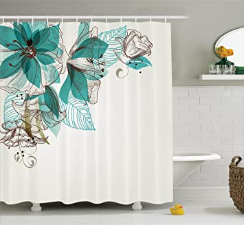 Turquoise Shower Curtain Set By Ambesonne Flowers Buds Leaf At The Top Left Corner Retro