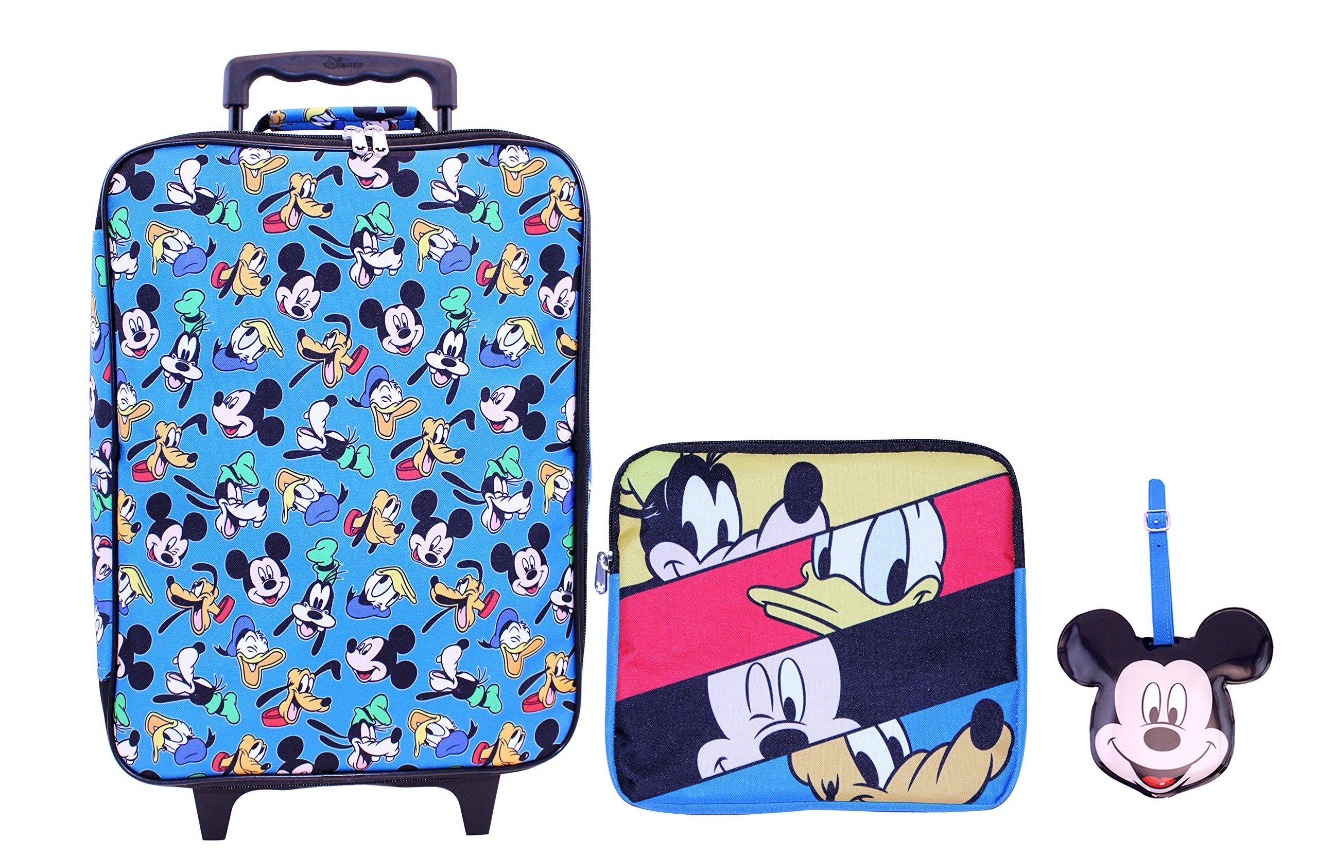 Disney Boys' Mickey 3 Pc Luggage Set, Blue