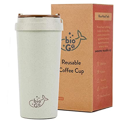 bioGo Cup | Rice Husk Fibre | BPA-Free, Double Wall Insulation Reusable  Coffee Cups | On-The-Go Travel Mug | Screw Tight Lid, Secure Mouthpiece |