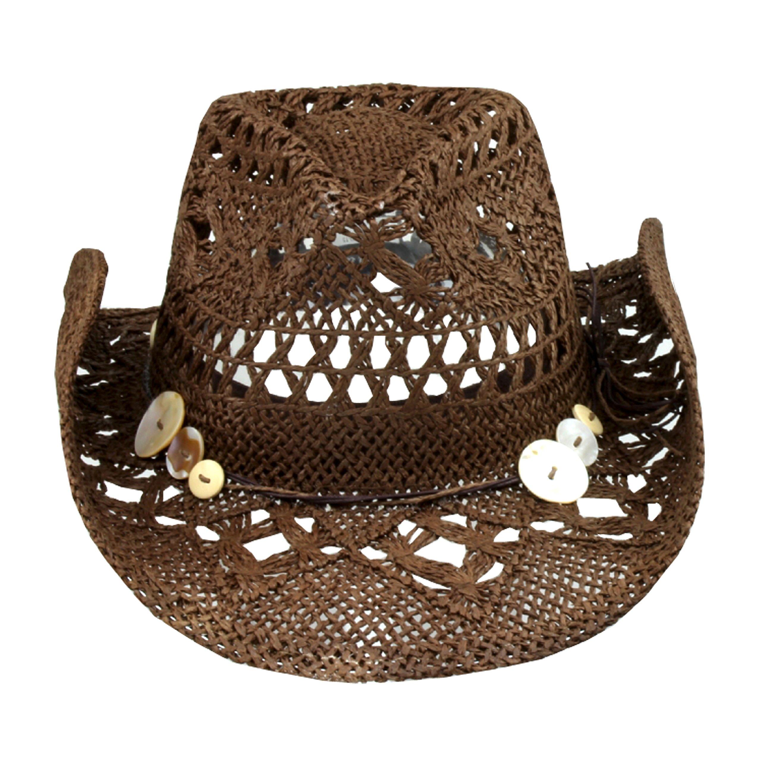 Brown Boho Hip Cowgirl Hat, Lace-Look Straw w/ Raffia Band - Shapeable Brim