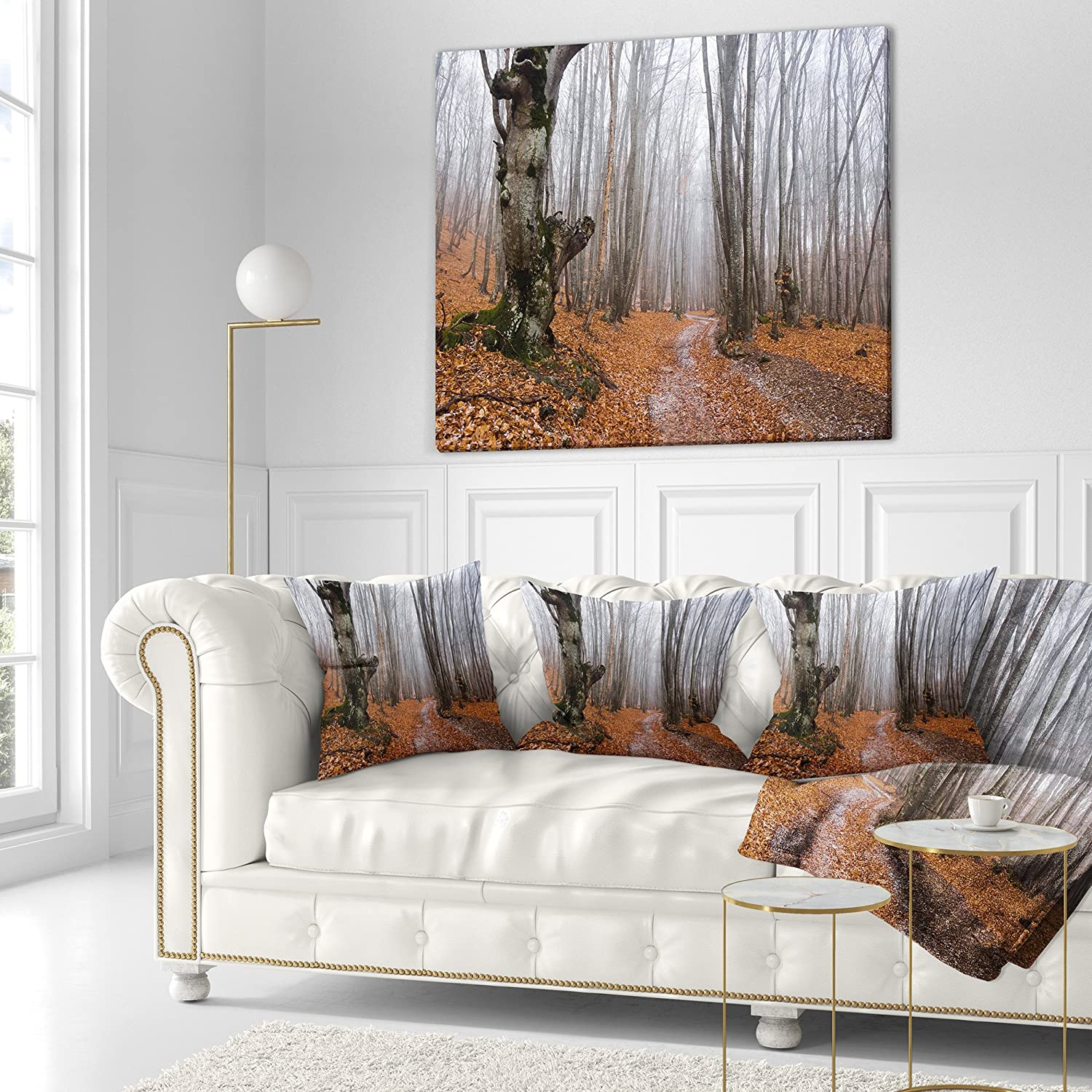 x 16 in Sofa Throw Pillow 16 in Insert Printed On Both Side Designart CU13948-16-16 Road Fallen Leaves Modern Forest Cushion Cover for Living Room in