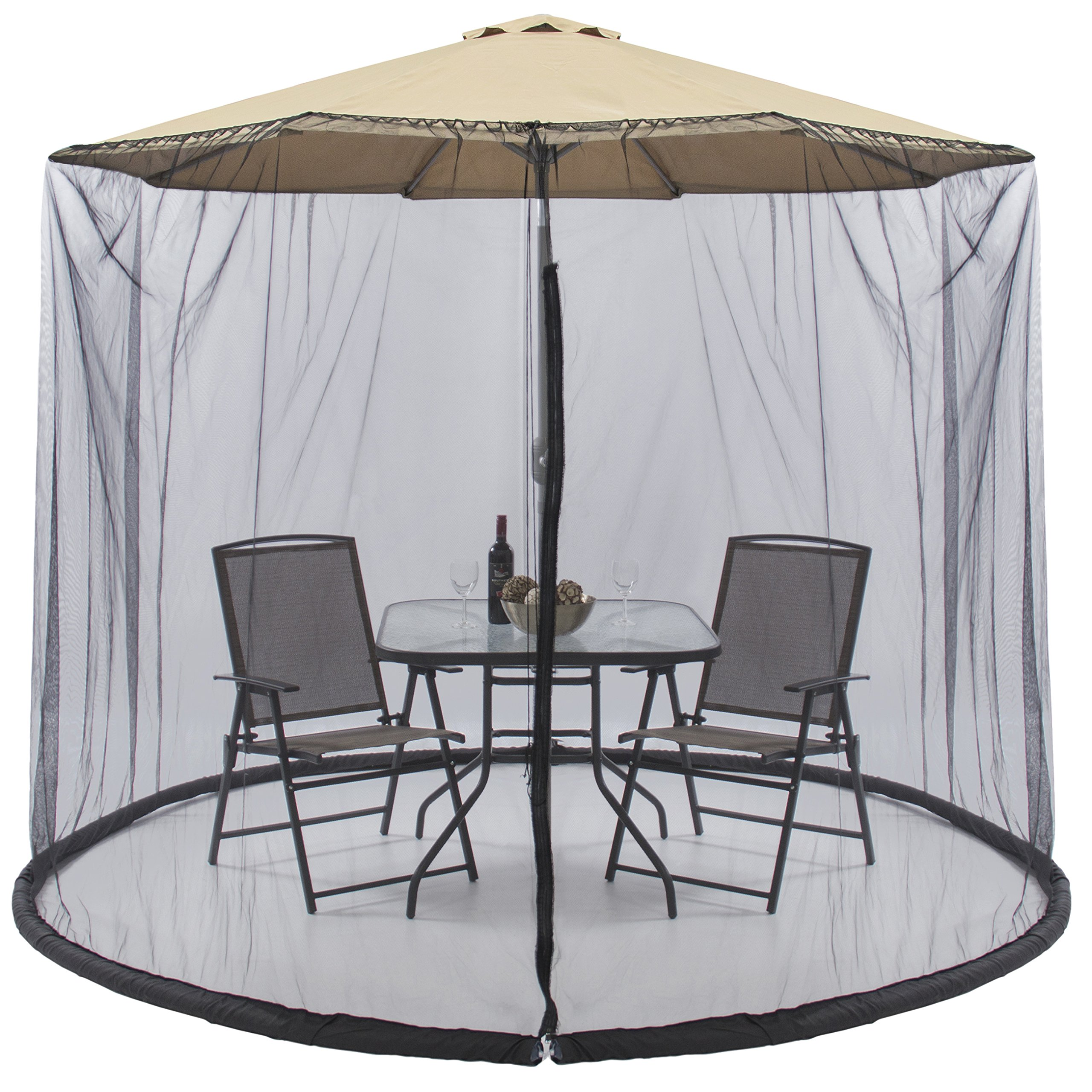 Best Choice Products 9ft Patio Umbrella Bug Screen w/Zipper Door. Polyester Netting - Black