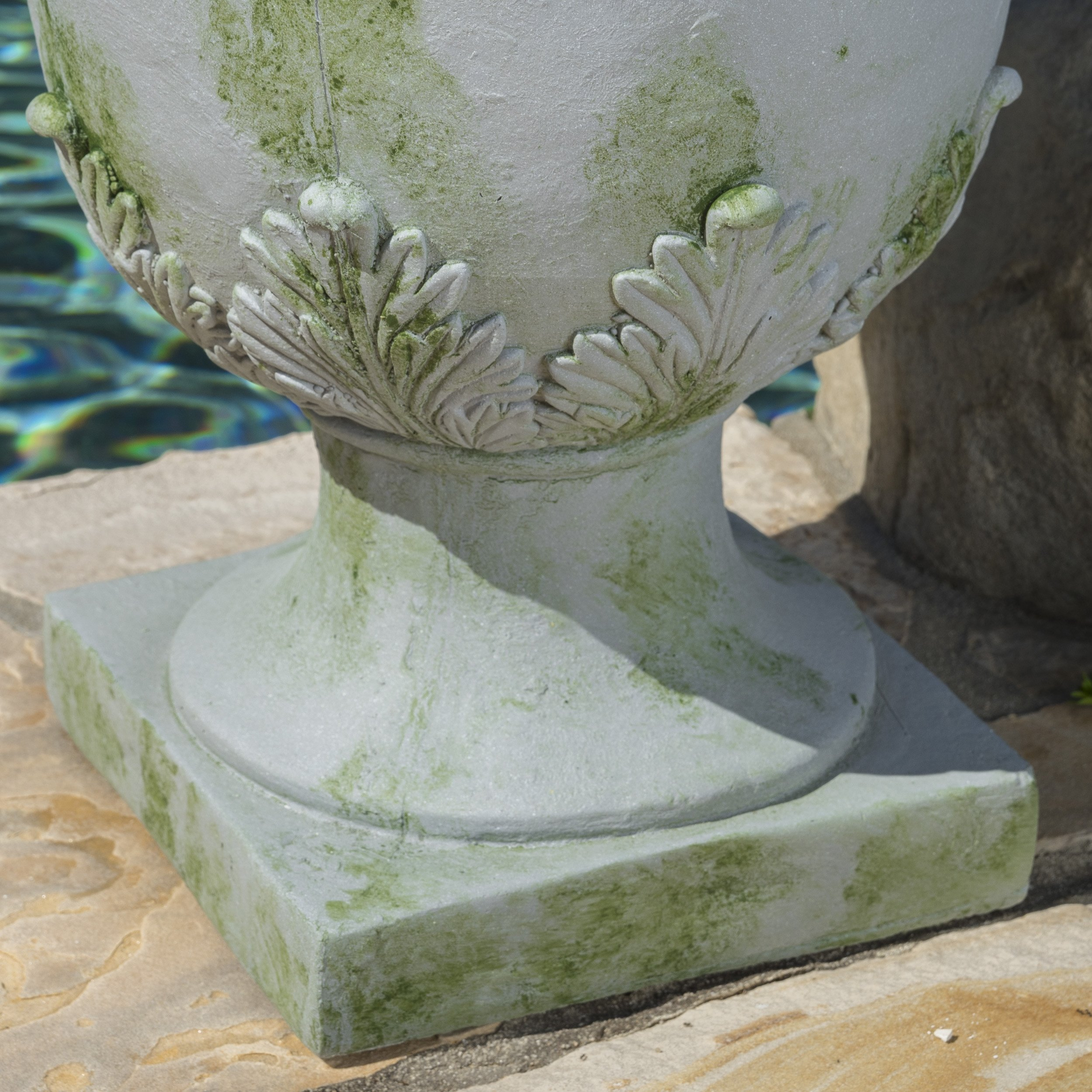 Floriana Antique Grey Moss Stone Planter