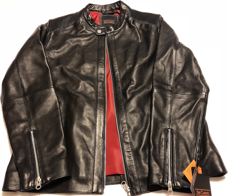 DeCuero Mens Genuine Sheep Skin Leather Jacket-Black