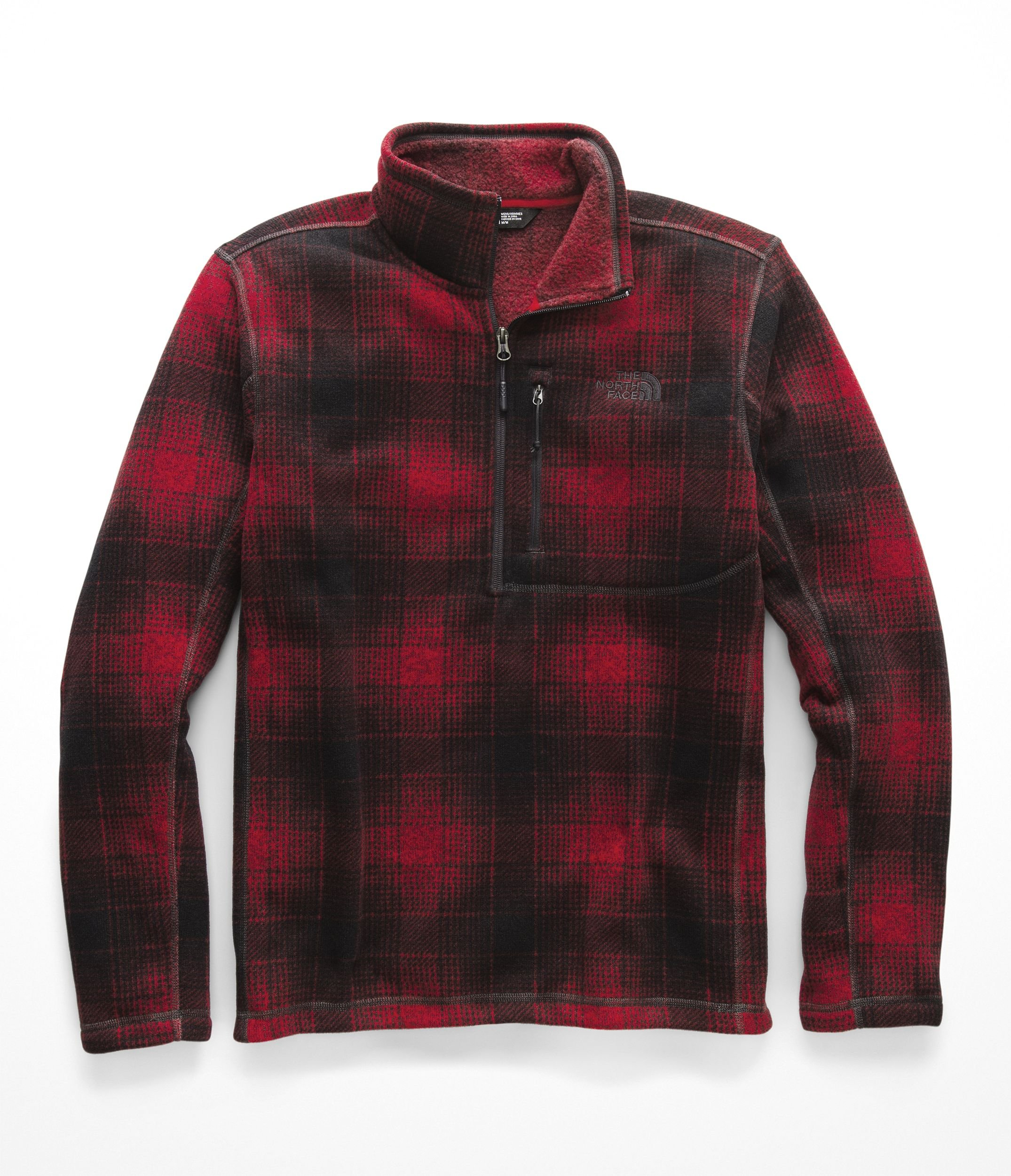 The North Face Men's Novelty Gordon Lyons 1/4 Zip Rage Red Ombre Plaid Print Large