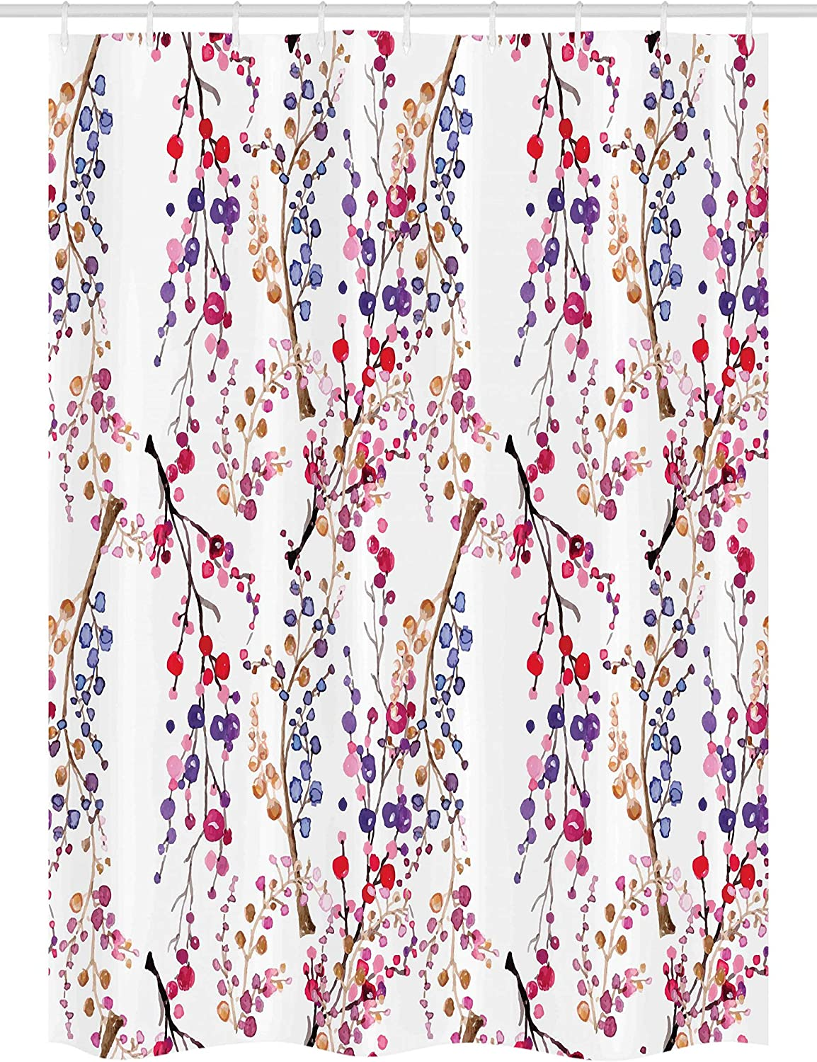 Ambesonne Watercolor Flower Stall Shower Curtain, Branches in Full Blossom Colorful Sprigs Pattern in Watercolor Art, Fabric Bathroom Decor Set with Hooks, 54