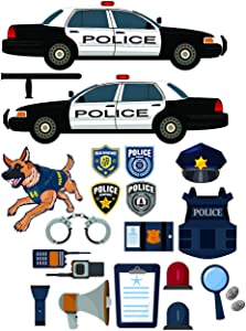 Epic Designs Police car Equipment Stickers - Removable and repositionable Wall Decals Wall Art for Any Kids Room