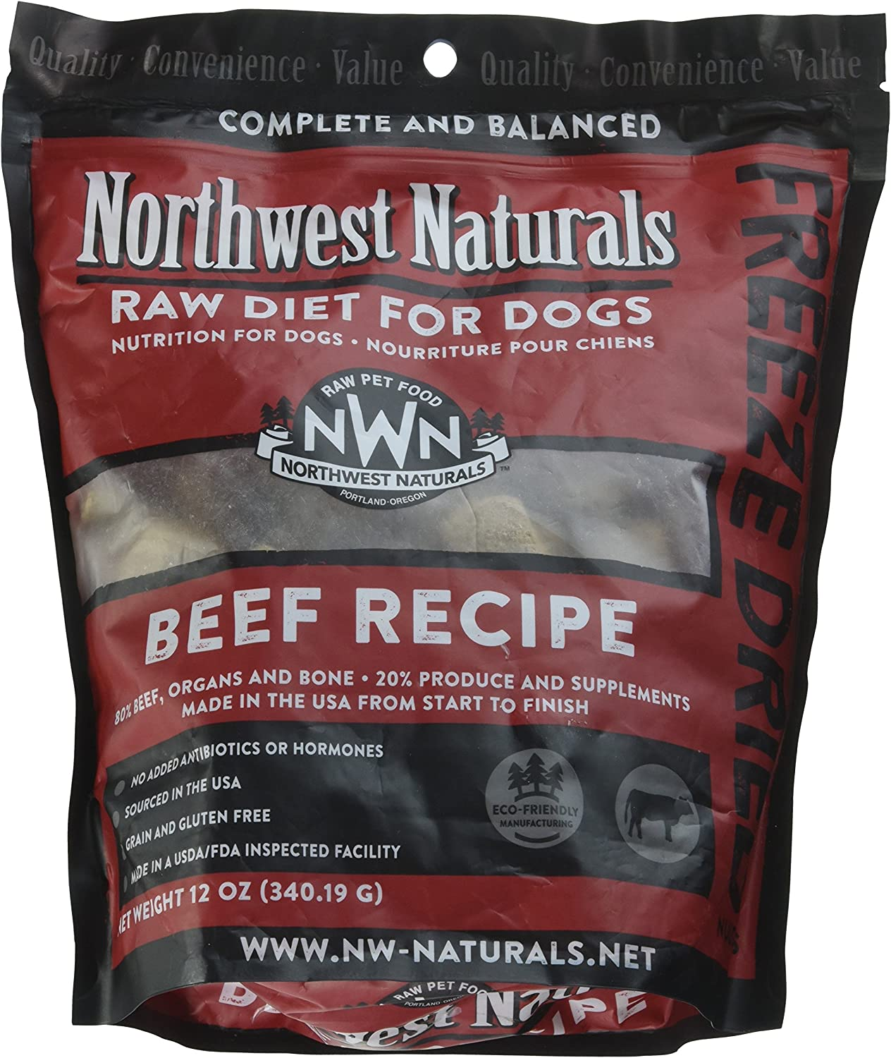 Northwest Naturals Freeze Dried Dog Food Nuggets, Beef Recipe
