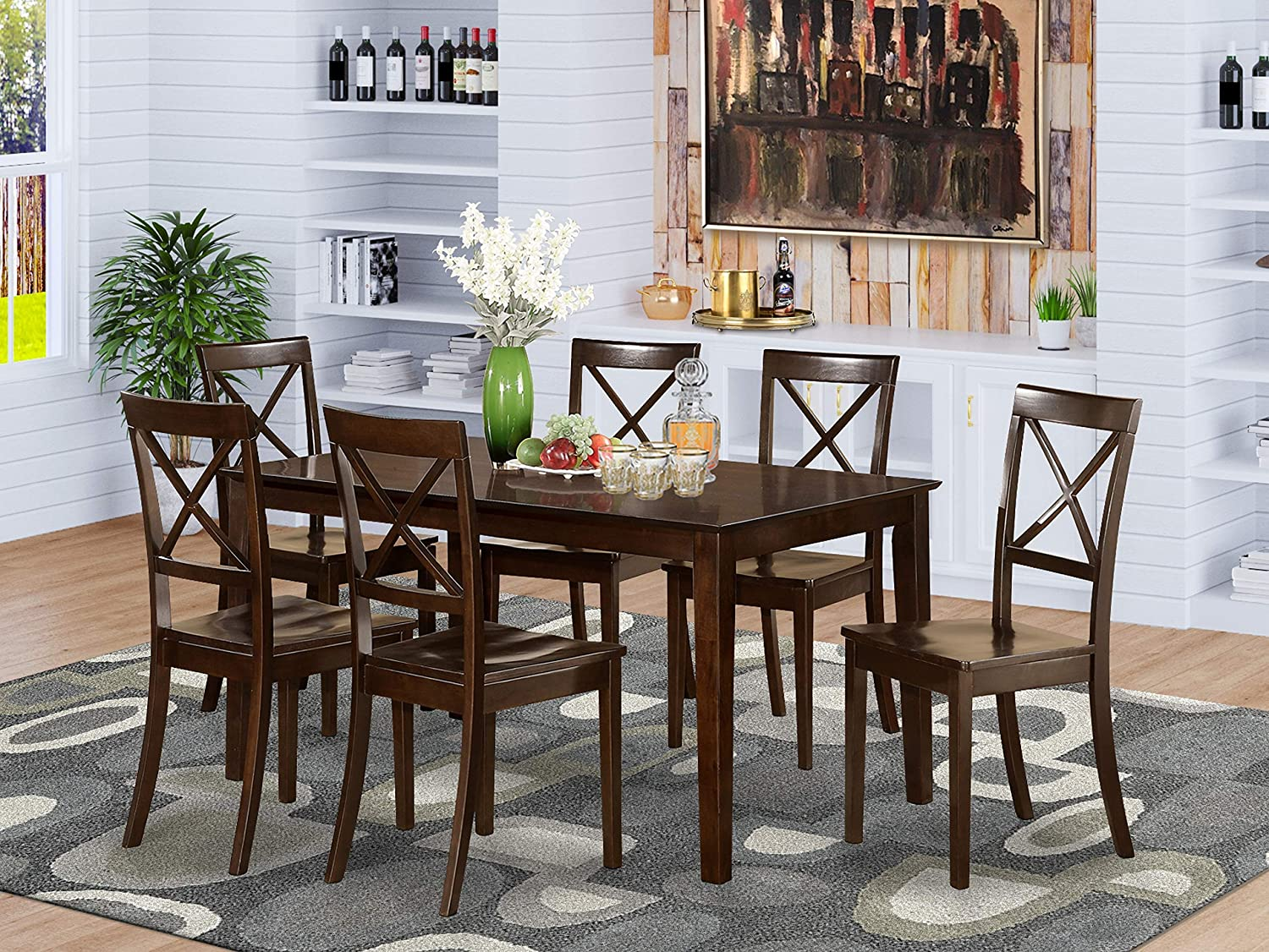 Amazon Com East West Furniture Dining Set 7 Pc Wooden Modern Dining Chairs Seat Cappuccino Finish Small Rectangular Dining Table And Body Kitchen Dining