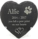 Personalised Engraved Natural Slate Heart, Pet Slate Memorial Plaque, Pet Grave Marker. Over 15 pet image Styles to Choose From (Mem 1)