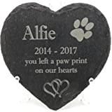 Personalised Engraved Natural Slate Heart, Pet Slate Memorial Plaque, Pet Grave Marker. Over 15 pet image Styles to Choose From