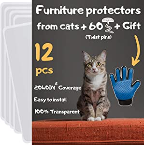 Cat Furniture Protector 12 Pack - Cat Couch Protectors for Furniture, Furniture Protection from Cat Scratching, Couch Protector from Cats, Cat Scratch Deterrent Includes Cat Glove