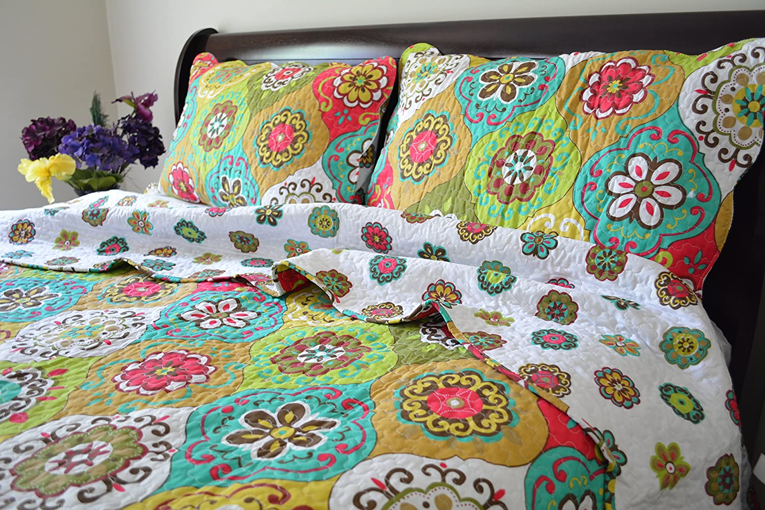 Green Summer Reversible Bedspread Quilt Set