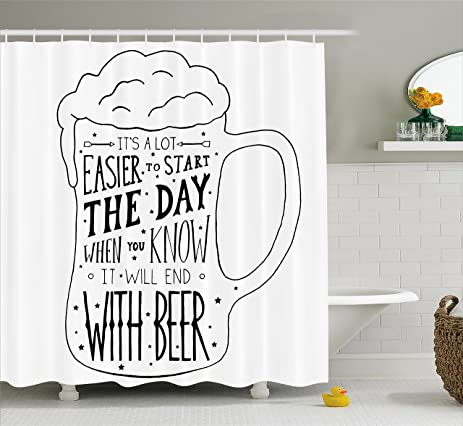 Man Cave Shower Curtain By Lunarable Typographic Artwork With Humorous Quotation Beverage Pub Bar Glass