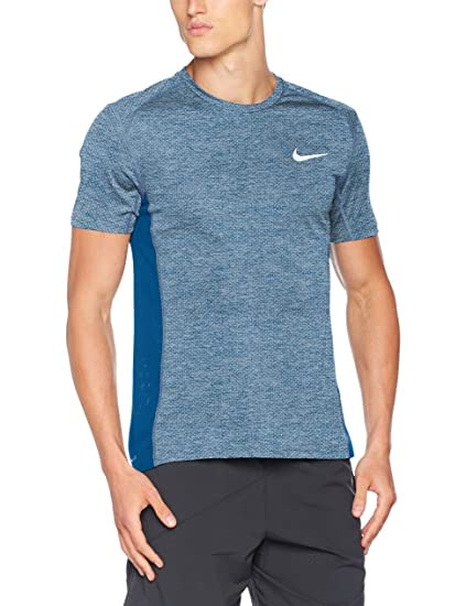 74befabe NIKE Mens Breath Milers Cool Short Sleeve Running Top Glacier Blue 834241- 411 Size Large