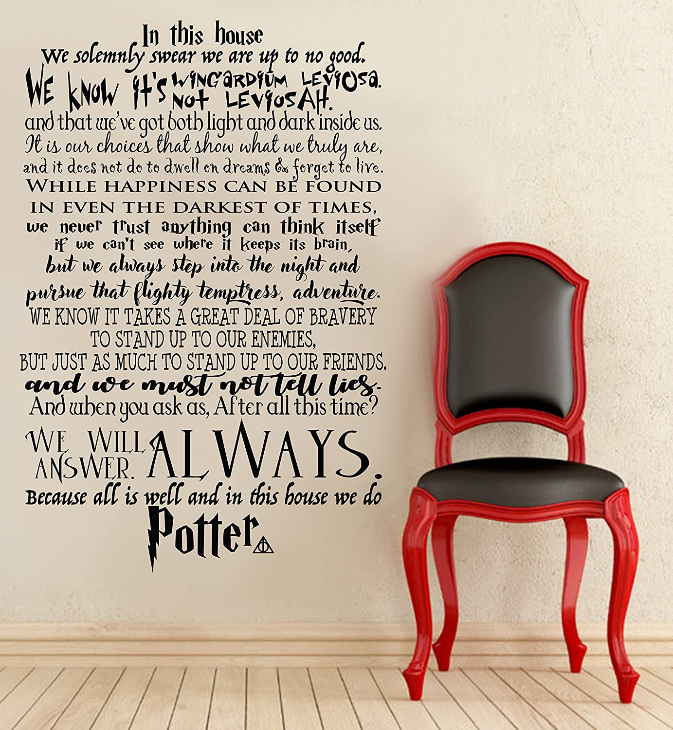 """In This House We Do Potter We Do Harry Potter Wall Decal Harry Potter Quote Wall Decal Lettering Vinyl Sticker (32"""" X 48"""") by Decalzone Inc"""
