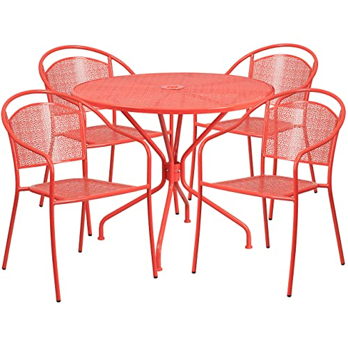 Flash Furniture 35.25 Round Coral Indoor-Outdoor Steel Patio Table Set with 4 Round Back Chairs