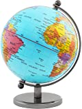 BRUBAKER Globe terrestre en Acier inoxydable - Design Bleu clair