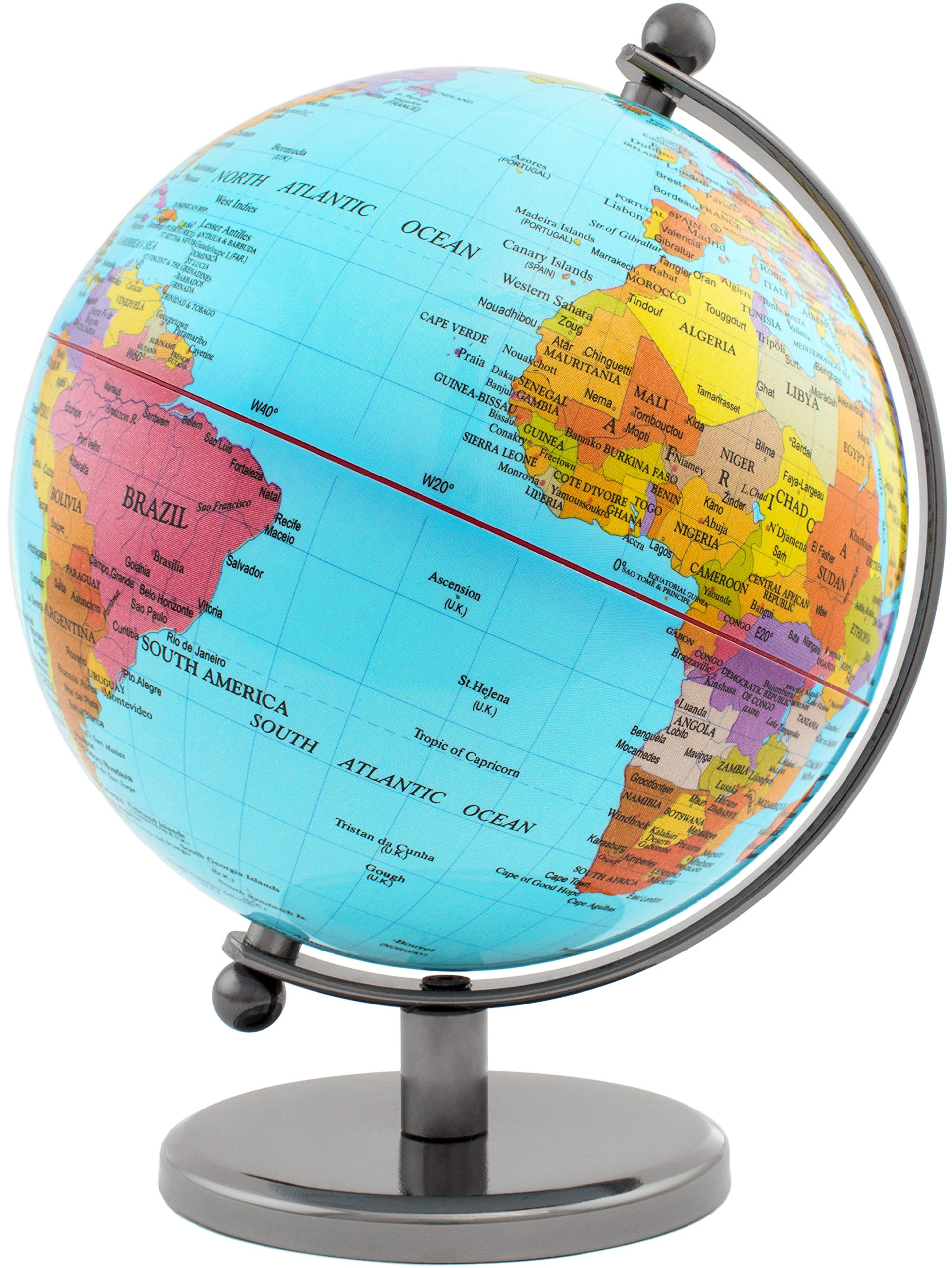 BRUBAKER Rotating Desk Globe with Metal Base - Office Decoration - Political World Globe - 7.5 inches tall - Light Blue