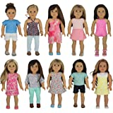"""American Girl Doll Clothes Wardrobe Makeover- 10 Complete Outfits, Fits 18"""" Doll Clothes- by PZAS Toys"""