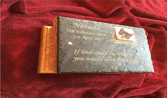 Pequeña mascota de roble de madera cremación cenizas urna con pizarra personalizada placa de fotos juguete perro - gato - pájaro - conejo - loro.