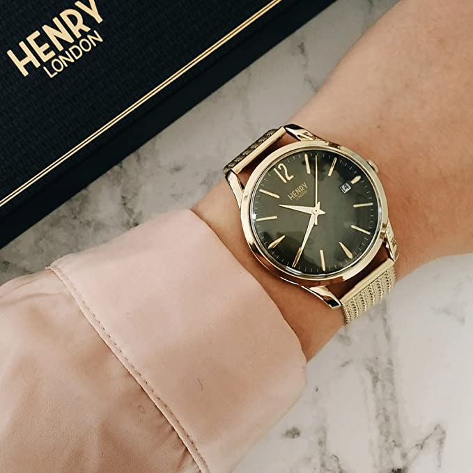 Henry London Reloj Analógico para Unisex Adultos de Cuarzo con Correa en Acero Inoxidable 5018479077695: Amazon.es: Relojes