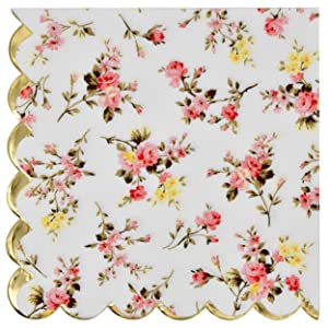 Gift Boutique 100 Floral Luncheon Napkins with Scalloped Edge 3 Ply Flowers Design For Table Bridal & Baby Shower Wedding Reception & Birthday Tea Party Favors Supplies Decorations